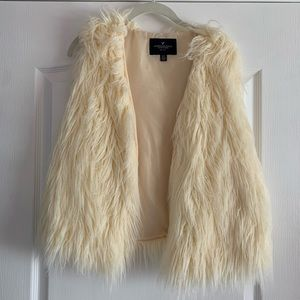 American Eagle off white faux fur shag vest